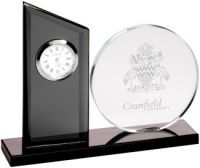 Clear/Black Glass Clock And Round Plaque - 5.5in