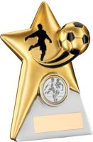 Gold Silver Resin Football Star Plaque Trophy - 5in