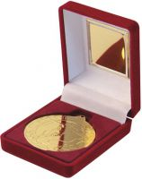 Red Velvet Box And Gold Football Medal Trophy - 3.5in