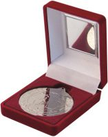Red Velvet Box And Silver Football Medal Trophy - 3.5in