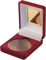 Red Velvet Box And Bronze Football Medal Trophy - 3.5in