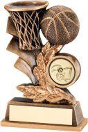 Bronze/Gold Basketball Leaf Plaque Trophy - 4in