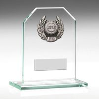 Jade Glass Plaque With Silver Trim Trophy - 3.75in