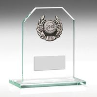Jade Glass Plaque With Silver Trim Trophy - 5.25in