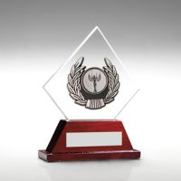 Jade Glass Rosewood Base With Silver Trim Trophy - 6.5in