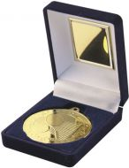 Blue Velvet Box and Gold Tennis Medal Trophy - 3.5in