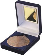 Blue Velvet Box and Bronze Tennis Medal Trophy - 3.5in