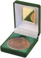 Green Velvet Box and Bronze Gaelic Football Medal Trophy - 3.5in