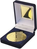 Blue Velvet Box and Gold Swimming Medal Trophy - 3.5in