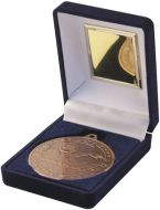 Blue Velvet Box and Bronze Swimming Medal Trophy - 3.5in