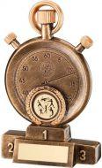 Bronze/Gold Stopwatch On Podium Trophy - 5.25in