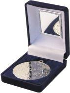 Blue Velvet Box and Silver Multi Athletics Medal Trophy - 3.5in