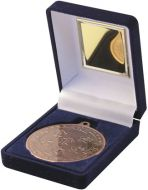Blue Velvet Box and Bronze Multi Athletics Medal Trophy - 3.5in