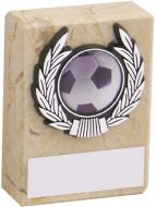Cream Marble and Silver Trim Trophy - 3in