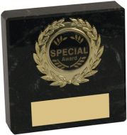 Black Marble and Gold Trim Trophy - 3in