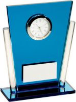 Blue/Clear Glass Tapered Rectangle Clock Trophy - 5.25in