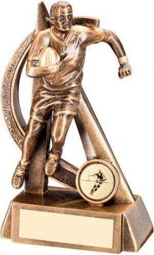 Bronze Gold Rugby Geo Figure Trophy - 7.5in