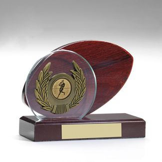 Mahogany and Glass Rugby Ball and Antique Gold Trim Trophy - 5in
