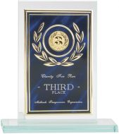 Jade Glass Plaque With Blue/Gold Aluminium Front Trophy - 6in