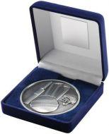 Blue Velvet Box+Medal Cricket Trophy - Antique Silver 4in