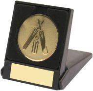 Black Plastic Box and Gold Cricket Centre - 3.5in
