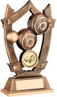 Bronze Gold Resin Lawn Bowls 5-Star Trophy - 6.25in