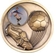 Antique Gold Football and Boot Medallion - 2.75in
