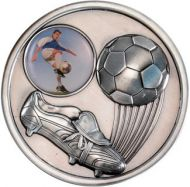 Antique Silver Football and Boot Medallion - 2.75in