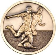 Antique Gold Footy Players Medallion - 2.75in
