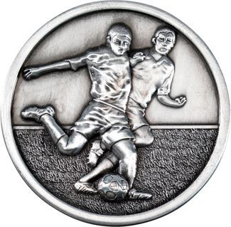 Antique Silver Footy Players Medallion - 2.75in