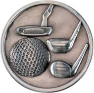Antique Silver Golf Clubs Medallion - 2.75in