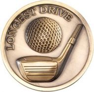 Antique Gold Golf Longest Drive Medallion - 2.75in