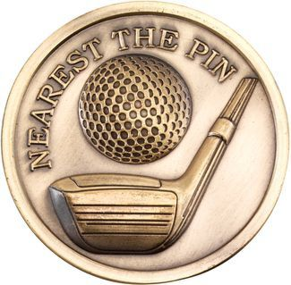 Antique Gold Golf Nearest The Pin Medallion - 2.75in