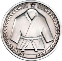 Martial Arts Medallion - Antique Silver 2.75in