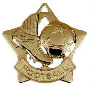 Mini Star Football Medal Gold 60mm