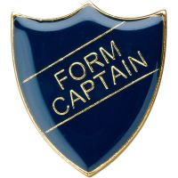 School Shield Trophy Award Badge (Form Captain) - Blue 1.25in