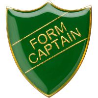 School Shield Trophy Award Badge (Form Captain) - Green 1.25in