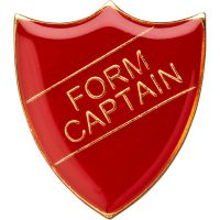 School Shield Trophy Award Badge (Form Captain) - Red 1.25in
