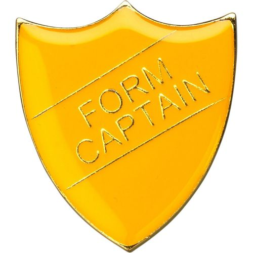 School Shield Trophy Award Badge (Form Captain) - Yellow 1.25in