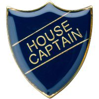 School Shield Trophy Award Badge (House Captain) - Blue 1.25in