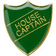 School Shield Trophy Award Badge (House Captain) - Green 1.25in