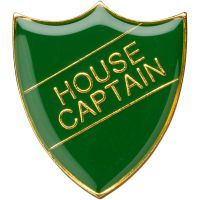 School Shield Trophy Award Badge (House Captain) - Green 1.25in