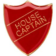 School Shield Badge (House Captain) - Red 1.25in