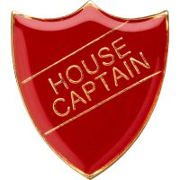 School Shield Trophy Award Badge (House Captain) - Red 1.25in