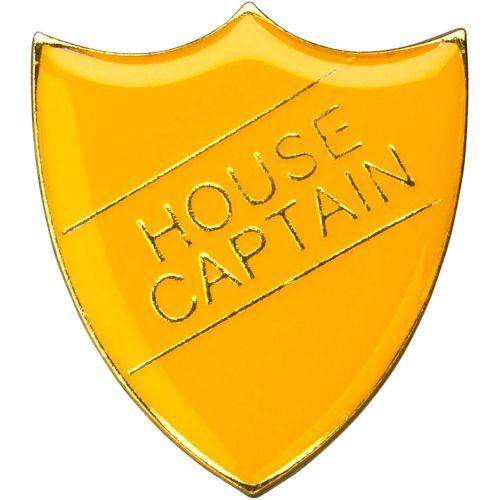 School Shield Trophy Award Badge (House Captain) - Yellow 1.25in