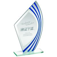 Jade Glass Sail Plaque With Blue Silver Highlights - (5mm Thick) 8in