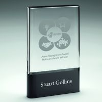Clear Glass Plaque On Black Base (30mm Thick) - 7in