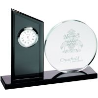 Clear Black Glass Clock And Round Plaque - 5.5in