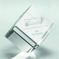 Clear Glass Cube Paperweight In Box - 4in