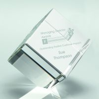 Clear Glass Cube Paperweight In Box - 3.25in